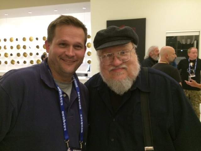 George R.R. Martin poses with some guy he doesn't know from Adam...yet Source: Photo by B. Daniel Blatt